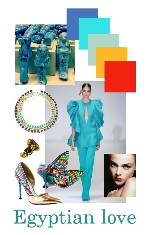 Egyptian, love, inspired from items from the Danish national museum, turquoise, red, blue and gold. Red lips.